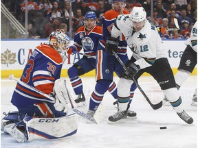 San Jose Sharks forward Patrick Marleau is stopped by Edmonton Oilers goalie Cam Talbot in Edmonton on March 30, 2017. (The Canadian Press)
