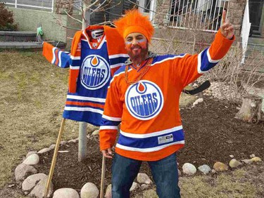 Oilers fan Alvin Shankar's snowmen have been good luck charms for the Edmonton Oilers but with no snow on the ground for Game 5 against the San Jose Sharks on April 20, 2017, he constructed a scarecrow. Supplied