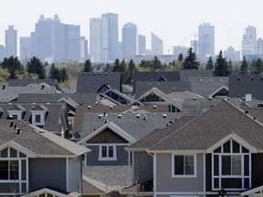 The Edmonton skyline is visible behind the neighbourhood of Griesbach, in Edmonton, Alta. on Tuesday May 12, 2015.
