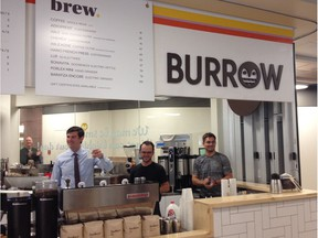 Mayor Don Iveson greets coffee drinkers in this file photo of the Burrow Cafe opening in June 2014.