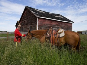 RCMP Staff Sgt. Jerry Klammer and his horse Shane take a break as they take part in a re-enactment of the historic trail ride that first brought the North West Mounted Police to western Canada, near Edmonton Friday June 30, 2017. Participants rode from Josephburg to Fort Saskatchewan.