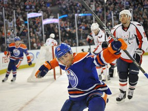 Friday October 28, 2011 Page B1 EDMONTON, AB. OCTOBER  27,  2011 -Jordan Eberle of the Edmonton Oilers celebrates his second period goal against  the Washington Capitals at Rexall Place in Edmonton. SHAUGHN BUTTS/EDMONTON JOURNAL) Shaughn Butts