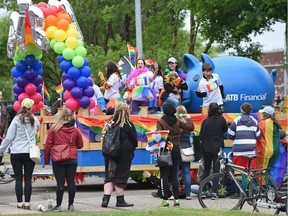 The colourful annual Pride Parade winds its way along Whyte Avenue to 104 Street in Edmonton on June 10, 2017.
