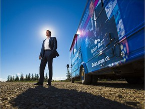 Former Wildrose leader Brian Jean stands near his campaign RV after launching his bid to become leader of the new United Conservative Party, at an event near Airdrie on Monday, July 24, 2017.