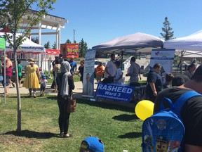 Coun. Dave Loken supplied this photo of Ward 3 candidate Sarmad Rasheed's booth Saturday. Aug. 12, 2017 at a Youth Day event in a Castle Downs park.