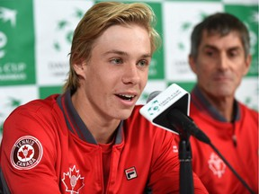 A media conference with the Davis Cup Canadian Team member, Denis Shapovalov, with Martin Laurendeau (back), team captain and the rest of the members Daniel Nestor, Vasek Pospisil and Brayden Schnur at Northlands Coliseum in Edmonton on Sept. 12, 2017.