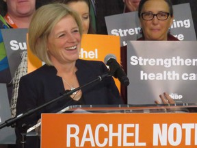 Alberta Premier Rachel Notley speaks during a speech at MacEwan University in Edmonton on Saturday, Sept. 23, 2017. Notley went on the attack against the United Conservative opposition Saturday in a campaign-style speech to party members at MacEwan University.