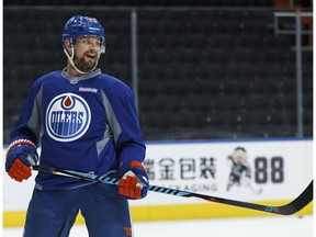 Edmonton Oilers' Matt Hendricks (23) practices deflections during a practice at Rogers Place in Edmonton on Thursday, May 4, 2017.