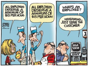 Alberta's proposed $15 minimum wage eventually leads to more automation and fewer entry level jobs. (Cartoon by Malcolm Mayes)