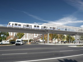 An artist's rendering of the proposed west Valley Line LRT station, outside the Misericordia Hospital on 87 Avenue.