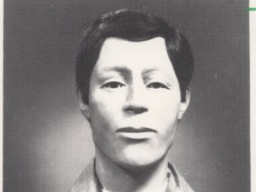 The 1988 photo of Septic Tank Sam's reconstructed face, released a decade after a man's decomposed remains were pulled from a septic tank outside Tofield. Forty years later, investigators hope a new national DNA database could help identify the victim.