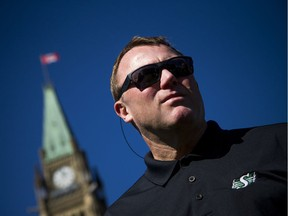 The Saskatchewan Roughriders' Chris Jones, shown on Parliament Hill on Oct. 1, merits strong coach-of-the-year consideration, in the opinion of columnist Rob Vanstone.