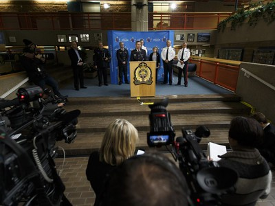 RCMP Assistant Commissioner Marlin Degrand speaks about the ongoing investigation into multiple acts of terrorism underway after a man attacked a police officer and four bystanders in Edmonton, Alberta on Sunday, October 1, 2017.