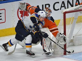 A miscue by Edmonton Oilers goalie Cam Talbot (33) caused St. Louis Blues Vladimir Sobotka to score during NHL action at Rogers Place in Edmonton, November 16, 2017.