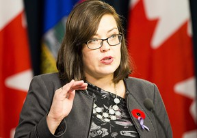 Justice and Solicitor General Minister Kathleen Ganley provides details about the proposed changes to the Alberta Human Rights Amendment Act, 2017, on Wednesday November 1, 2017, in Edmonton.  Greg  Southam / Postmedia