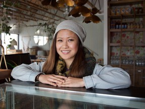 Khuyen Khuong of Cafe Mosaics poses for a photo at her family's new plant-based restaurant, The Moth.