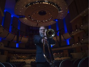 """Edmonton Symphony Orchestra trombonist and composer John McPherson, whose new Concerto for Two Horns """"Mountain Triptych"""", commissioned by the ESO, was premiered at the Winspear on Saturday (Jan 13)."""