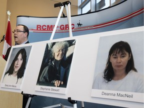 Staff Sgt. Jason Zazulak of the RCMP Historical Homicide Unit provides an update on three cold case homicide investigations at RCMP K Division in downtown Edmonton on Monday, Jan. 22, 2018.