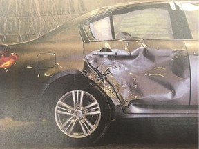 A photo of damage to David Bookhalter's car admitted as a court exhibit during his January 2018 trial for a fatal hit-and-run with a motorcycle.