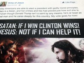 """A Facebook ad linked to a Russian effort to disrupt the American political process and stir up tensions around divisive social issues, released by the U.S. House Intelligence Committee, is photographed in Washington, on Friday, Feb. 16, 2018. The ad, with the words """"Hillary is a Satan, and her crimes and lies had proved just how evil she is"""" was listed as an excerpt of political advertising in the indictment charging 13 Russians and three Russian entities in an elaborate plot to interfere in the 2016 U.S. presidential election"""