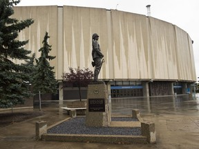 A statue of Arthur Henry Griesbach outside Northlands Coliseum.