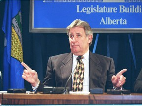 Ralph Klein at an April 2, 1998 press conference, reacting to the Vriend decision. It took a week before Klein said he would not invoke the notwithstanding clause, to thwart the Supreme Court.