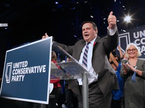 Jason Kenney celebrates after being elected leader of the United Conservative Party. The leadership race winner was announced at the BMO Centre in Calgary on Oct. 28, 2017.