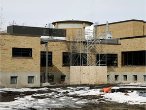 Construction continues at the Alberta School For The Deaf in Edmonton on April 6, 2018.
