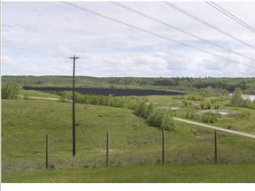 Epcor's proposed solar farm at the E. L. Smith water treatment centre, a rendering from the perspective of someone standing on Anthony Henday Drive.