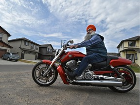 Bhupinder Singh might be the very first Sikh in Alberta to receive a new licence that allows him to ride a motorcycle without a helmet, in Edmonton, May 9, 2018.