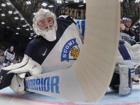 Finland's goalie Mikko Koskinen vies during the group B preliminary round game Finland vs USA at the 2016 IIHF Ice Hockey World Championship in St. Petersburg on May 9, 2016.