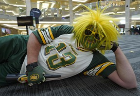 Edmonton Eskimos fan Scott Weech came out in team colors for the Edmonton Eskimos 2018 football season launch held at West Edmonton Mall on Thursday May 17, 2018. The event included performances by the all-new Esks Force Drum Line and Hype Team. (PHOTO BY LARRY WONG/POSTMEDIA)