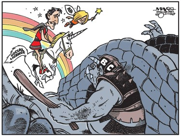 Justin Trudeau and Rachel Notley ride Social Licence unicorn into hands of B.C. troll. (Cartoon by Malcolm Mayes)