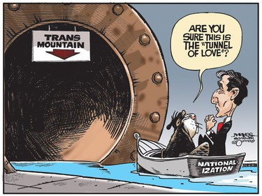 Nationalization of the Trans Mountain pipeline isn't a trip down the Tunnel of Love. (Cartoon by Malcolm Mayes)
