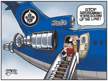 Traveling Winnipeg Jets fan daydreams about the Stanley Cup. (Cartoon by Malcolm Mayes)
