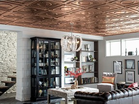 Tin ceilings are becoming a more popular design option, adding a pop of sophisticated colour to dated living areas.