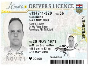 The Alberta government announced Wednesday that all driver's licenses and identification cards will be redesigned to help protect against counterfeiting and ID theft. Photo Supplied