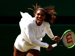 Serena Williams serves against Julia Goerges in the Wimbledon semifinals on Juky 12.