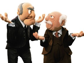 """Grumpy old men Waldorf and Statler from the Muppets. """"It seems that the restrictions of aging — more aches, more chronic illness, more limitations — have embittered many,"""" writes Ronald Macfarlane."""