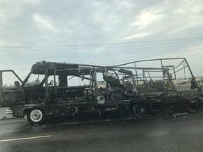 RCMP were called to a motorhome on fire on the Queen Elizabeth II Highway between the 41 Ave. and Highway 19 exits outside Nisku on Friday, Aug. 31, 2018.