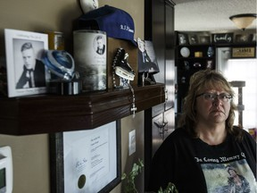 Kim Krupa son's Tanner Krupa was slain in Surrey, B.C., last year after moving there from Edmonton for work. Kim Krupa and investigators appealed to the public for answers on Tuesday, Aug. 21, 2018.