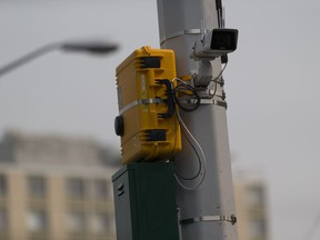 New automated noise monitoring cameras at 122 Street and Jasper Avenue on Thursday, Aug. 16, 2018 in Edmonton.