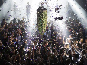 A depiction of a cannabis bud drops from the ceiling at Leafly's countdown party in Toronto on Wednesday October 17, 2018, as midnight passes and marks the first day legalization of Cannabis across Canada.