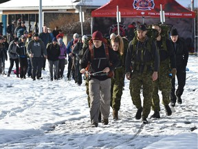 The Rucksack March for Rememebrance was held by first responders as a fundraiser for Wounded Warriors with the goal of raising $10,000 to support veterans, first responders and their families, at Gold Bar Park in Edmonton, November 3, 2018. Ed Kaiser/Postmedia