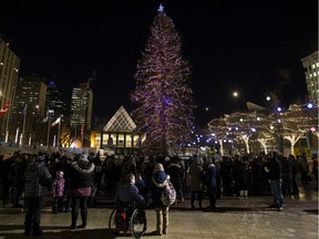 A small crowd gathers to watch the officially light up of the Downtown Business Association's Christmas Tree in Churchill Square, in Edmonton Friday Nov. 16, 2018. The 20 metre tall white spruce tree, weighs close to 2800 kg.