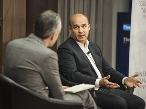 Kevin Carmichael (left), National Business Columnist Financial Post and Jim Balsillie (right), Chair of The Council of Canadian Innovators at the Innovation Nation event at the Financial Post's Toronto headquarters, Friday November 16, 2018.