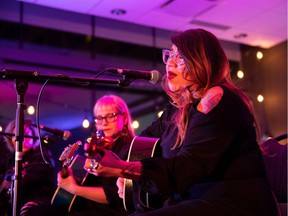 Celeigh Cardinal performs during I Am Enough at the ATB Arts and Culture Branch in Edmonton, Alta., on Sunday, Dec. 16.