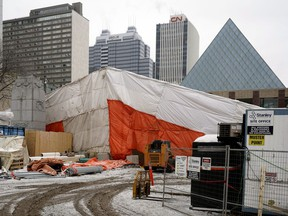Tarps have been put up above the construction of the wading pool in front of Edmonton city hall on Wednesday, Jan. 16, 2019.