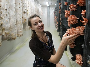 Rachel Gruger is co-owner of Gruger Family Fungi in Nisku, Canada's first vertical mushroom farm.