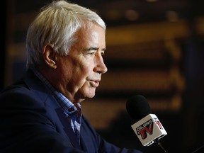 Bob Nicholson, CEO and Vice-Chair, Oilers Entertainment Group, speaks about Edmonton Oilers firing of General Manager Peter Chiarelli at Rogers Place in Edmonton on Jan. 23, 2019.